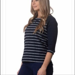 NYDJ City Sport Navy Blue and White Stripe Top